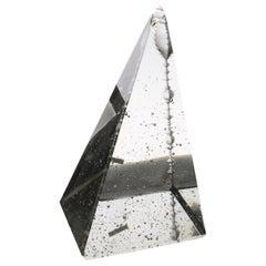 Jan Exnar, Czech Crystal Pyramid Monolith with Corner Engraving, 1998