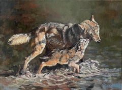 Brothers Wolf, Oil Painting