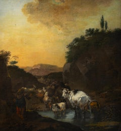 Shepherd with Sheep, Cows and a Goat in a Landscape by Jan Frans Soolmaker