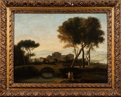 FINE 1700'S ITALIAN OLD MASTER GRAND TOUR CLASSICAL OIL PAINTING - FIGURES TOWN