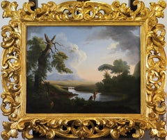 A classical Italianate landscape with figures by a river