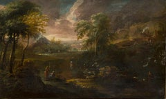 Huge 1700's Flemish Old Master Oil Painting Classical Landscape with Figures