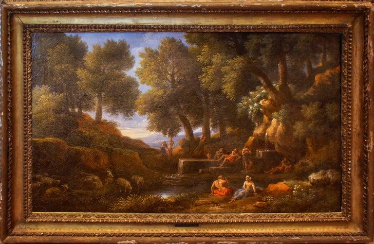 Wooden Landscape with Shepherds, Fountain and Flock - by Jan Frans van Bloemen - Painting by Jan Frans van Bloemen (Orizzonte)