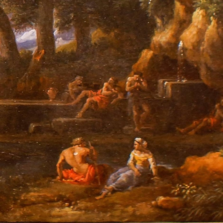 Wooden Landscape with Shepherds, Fountain and Flock - by Jan Frans van Bloemen - Old Masters Painting by Jan Frans van Bloemen (Orizzonte)