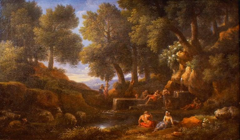 Jan Frans van Bloemen (Orizzonte) Landscape Painting - Wooden Landscape with Shepherds, Fountain and Flock - by Jan Frans van Bloemen