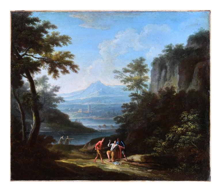 Jan Frans van Bloemen (Orizzonte) Figurative Painting - Two Arcadic Landscapes - J.F. Van Bloemen (follower of) - Oil on Canvas