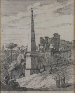 """Figures at the Obelisk,"" Original Etching Landscape by Jan Frans van Bloemen"