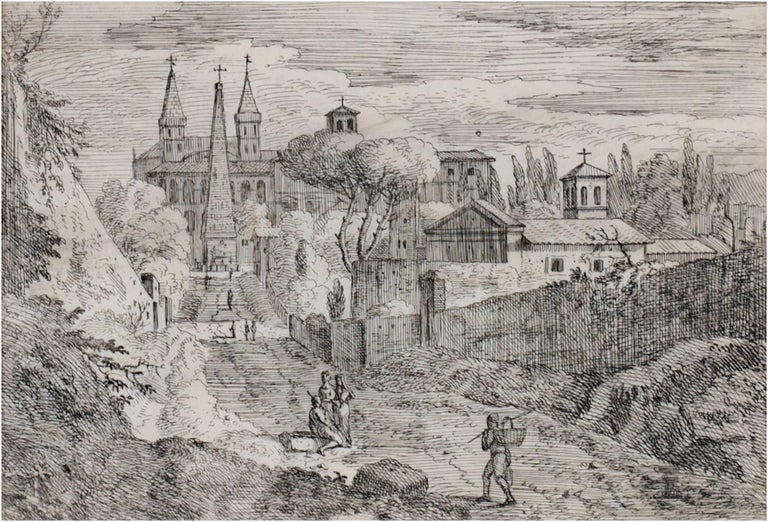 "Jan Frans van Bloemen (Orizzonte) Landscape Print - ""Figures Outside the Monastery,"" Original Etching by Jan Frans van Bloemen"