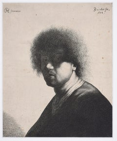 Portrait of a Man- Original Etching by J.G. van Vliet after Rembrandt - 1634