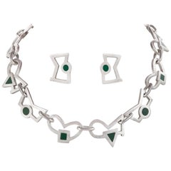 JAN GJALTEMA Stirling Silver Green Accented Abstract Shape Necklace Earring Set