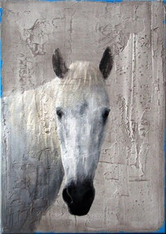 ''White Horse'' Dutch Contemporary Fresco Painting with a White Horse