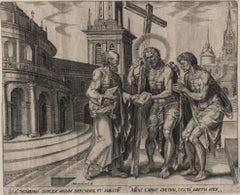 Law and Gospel - Set of 2 Plates - 1565 Old Master Engraving Religious