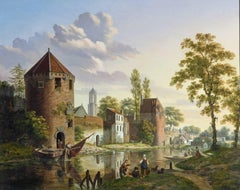 City wall along the canal in Utrecht - Early 19th Century, Realist, Oil Painting