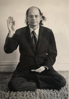 Original Vintage Silver Gelatin Photograph of Poet Allen Ginsberg in Yoga Pose