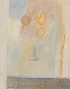 Jan Hoogsteyns (b. 1935) - Belgian 1972 Oil, Modernist Still Life with Pears