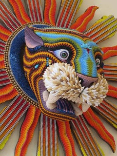 """Jaguar"", Contemporary, Mixed Media, Sculpture, Glass Beads, Animal, Figurative"