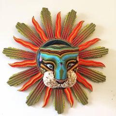 Contemporary Beaded Jaguar Sculpture with Sunburst, Huichol Inspired Mixed Media