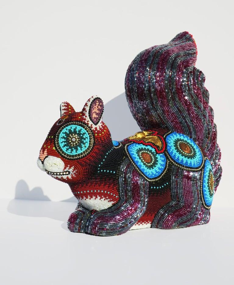 "Jan Huling Figurative Sculpture - ""Rocket J"", Czech Glass Seed Beads on Ceramic Squirrel Form, Contemporary Art"