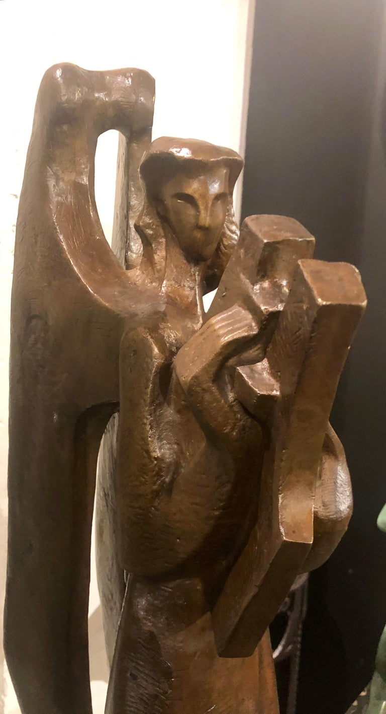 French Jan & Joel Martel Art Deco Cubist Bronze Angel Monumental 2 of 8 For Sale