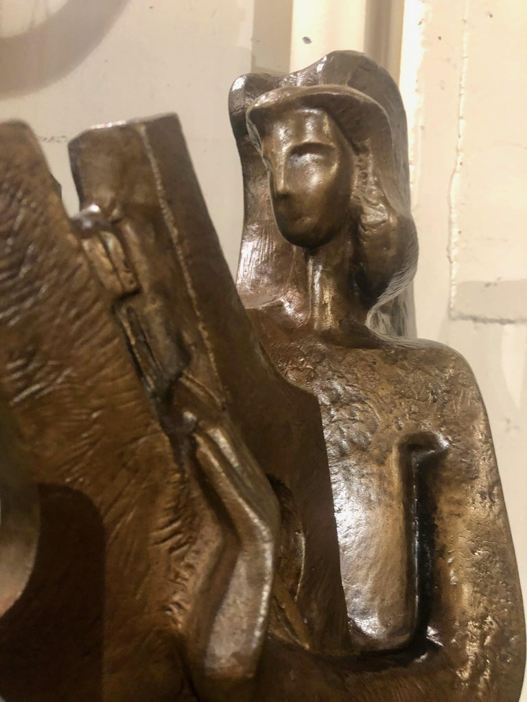 Jan & Joel Martel Art Deco Cubist Bronze Angel Monumental 2 of 8 In Good Condition For Sale In Oakland, CA