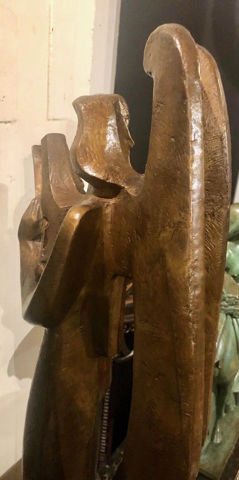 Early 20th Century Jan & Joel Martel Art Deco Cubist Bronze Angel Monumental 2 of 8 For Sale