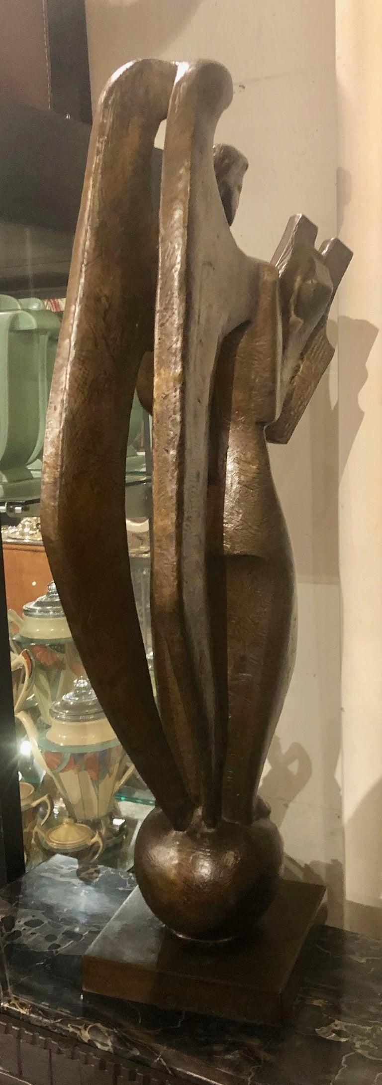 Jan & Joel Martel Art Deco Cubist Bronze Angel Monumental 2 of 8 For Sale 3