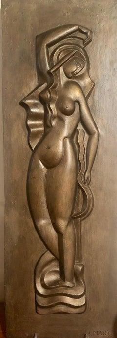 Jan & Joel Martel Art Deco Relief Cubist Woman