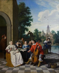 1760 Flemish Baroque oil painting. Romantic scene. Signed and dated.