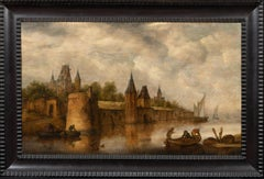 River Landscape With Figures In Boats, 17th Century