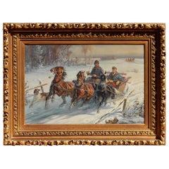 Jan Kasprowicz Polish Artist Oil on Canvas, Winter Scene, Driving the Troika