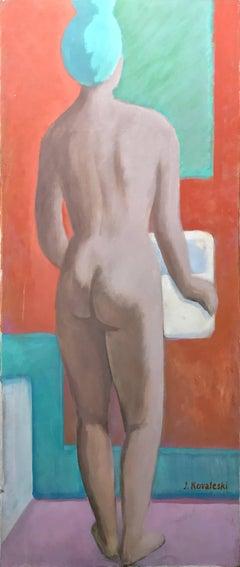 At the bathroom; Jan Kovaleski; American born 20th c; oil on canvas