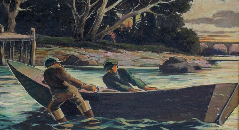 Original Antique American Landscape Fishing Delaware River Oil Painting Framed - Brown Landscape Painting by Jan Nosek