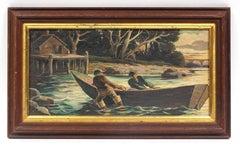 Original Antique American Landscape Fishing Delaware River Oil Painting Framed
