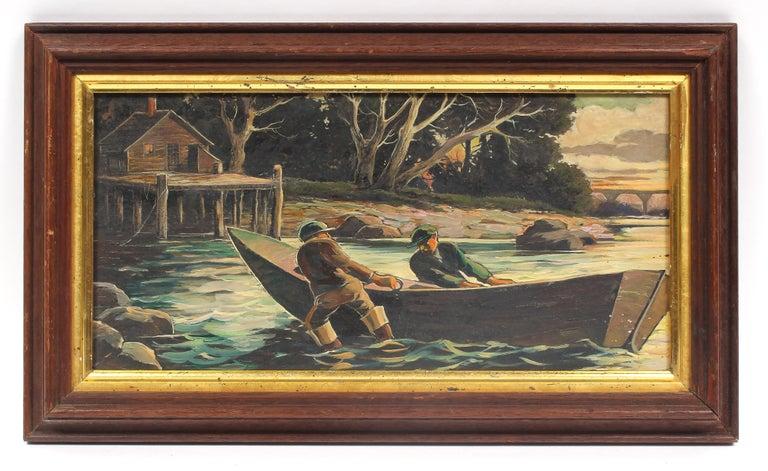 Jan Nosek Landscape Painting - Original Antique American Landscape Fishing Delaware River Oil Painting Framed
