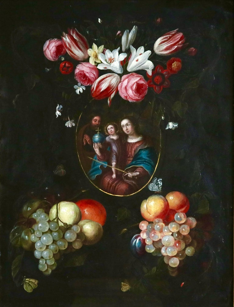A historic 17th century painting depicting the The Holy Family consisting of the Child Jesus, the Virgin Mary, and Saint Joseph. Veneration of the Holy Family was formally begun in the 17th century by Saint François de Laval, the first bishop of New