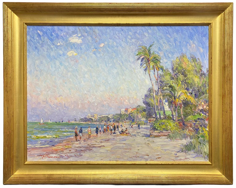A Day at the Beach, Florida - Painting by Jan Pawlowski