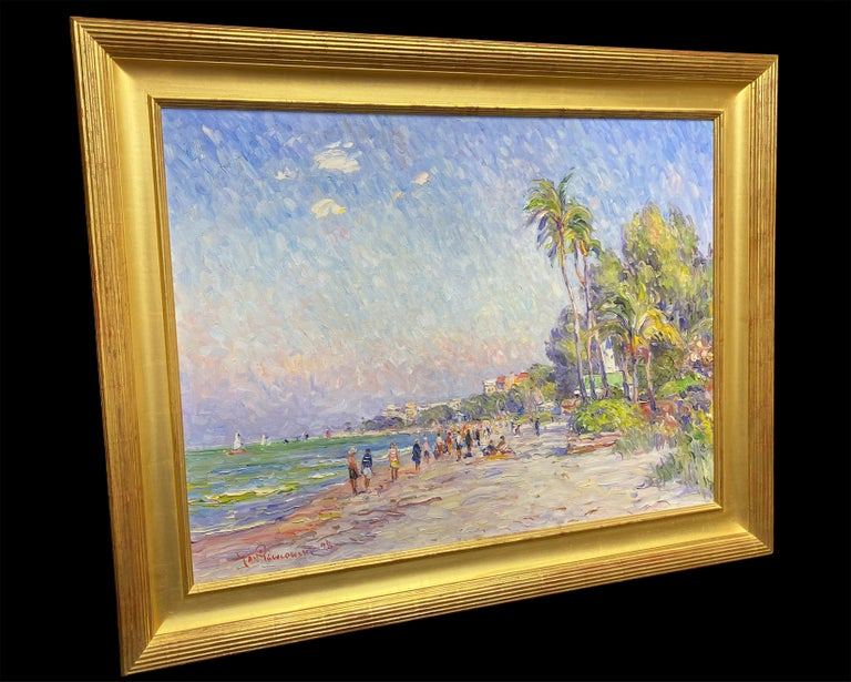 A Day at the Beach, Florida - American Impressionist Painting by Jan Pawlowski