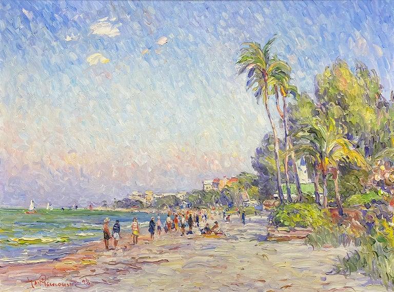 Jan Pawlowski Figurative Painting - A Day at the Beach, Florida