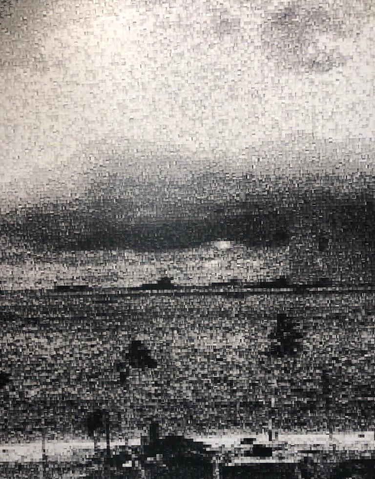 Operation Crossroads: Baker, Pixelated Image of Declassified Military Testing - Gray Figurative Print by Jan Pieter Fokkens