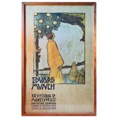 Jan Preisler 'Edward Munch' Antique Exhibition Poster, Prague, 1905