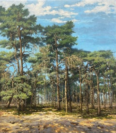 Pine Trees 21st Century Contemporary Dutch Landscape Painting of a Forest