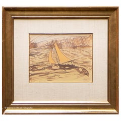"Jan Toorop, ""Sailing ship at sea"" Mixed-Media on Paper, Signed and Dated 1912"