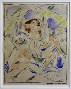 """Jan Trampota """"Bathing women"""" 1913, Works on Paper. Signed and dated."""