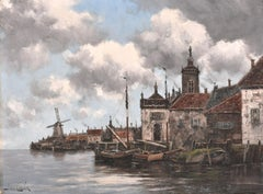 Signed Antique Original Dutch Impressionist Oil Painting Veeke Harbour, Holland