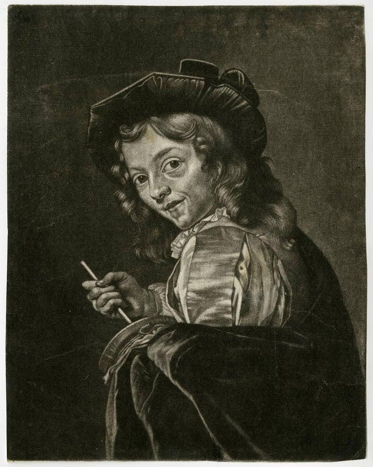 Jan van der Bruggen Portrait Print - Untitled - A boy playing a Rommelpot or Foekepot (friction drum or rumblepot).