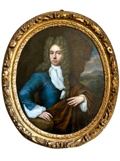 17th Century Portrait of a Gentleman in a Blue Jacket, Jan van Haensburgen.