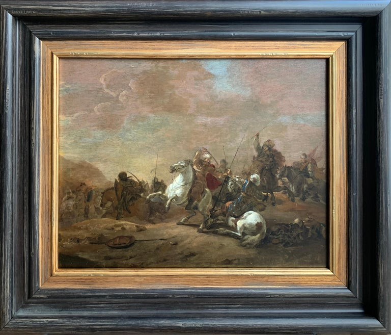Jan van Huchtenburg Figurative Painting - 17th century orientalist battle - Orientalist Turkish Arabian Cavalry Skirmish