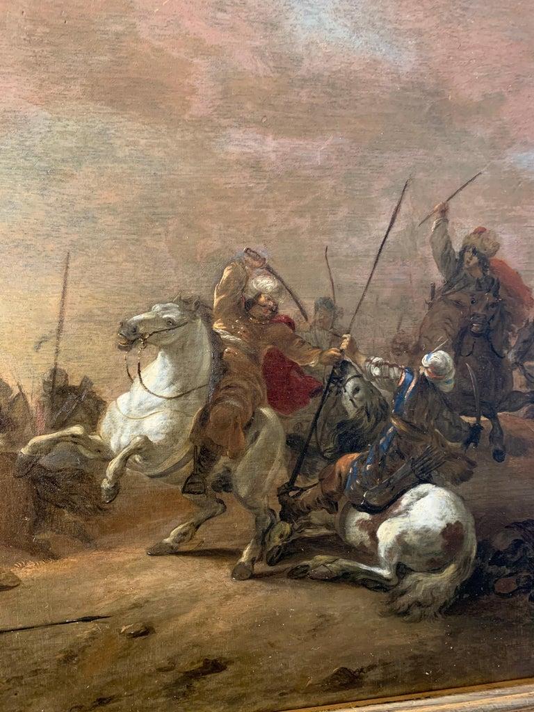 17th century orientalist battle - Orientalist Turkish Arabian Cavalry Skirmish  - Old Masters Painting by Jan van Huchtenburg
