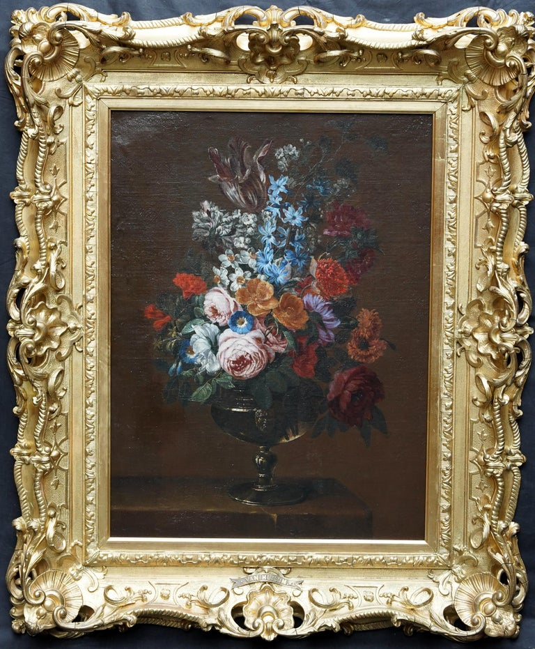 Floral Bouquet with Narcissi - Dutch Golden Age still life oil painting flowers For Sale 7