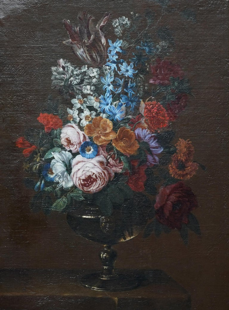 Floral Bouquet with Narcissi - Dutch Golden Age still life oil painting flowers - Painting by Jan Van Huysum